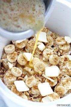 Save this brunch recipe to make Crock Pot Creamy Banana French Toast. Breakfast Crockpot Recipes, Brunch Recipes, Slow Cooker Recipes, Cooking Recipes, Easy Recipes, Slow Cooker Breakfast, Crockpot Ideas, Summer Recipes, Dessert Recipes