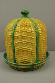 "MINTON majolica very RARE yellow and green basketweave cheese keeper, 12 1/4"" high"