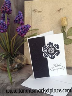 Sending a Sympathy card is from the heart. Why not send one that's homemade too with love. This black and white card is stamped on the front forming a raised layered jeweled flower on top of black emb                                                                                                                                                                                 More