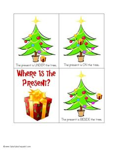 Christmas Positional Words Activity - Turn into a tic-tac-toe game? New Years Activities, Speech Therapy Activities, Language Activities, Christmas Activities, Holiday Themes, Christmas Themes, Christmas Printables, Preschool Christmas, Noel Christmas