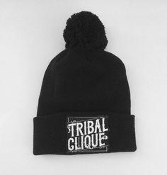 be69fd963e5 Tribal Streetwear Clique Beanie Black Pom Knit Cap  TribalGear  Beanie