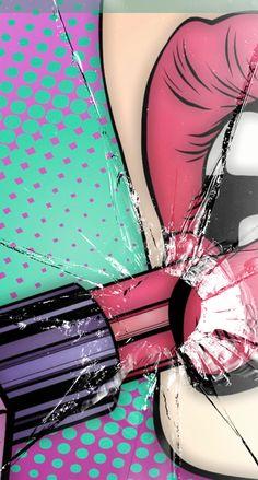 Wallpaper lips crash Pop Art Drawing, Woman Drawing, Makeup Backgrounds, Wallpaper Backgrounds, Pop Art Women, Pop Art Wallpaper, Beauty Salon Decor, Arte Pop, Cute Images
