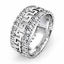 8mm Men Maze Eternity Wedding Band Prong Diamond Set Ring 14k White Gold 1.85Ct