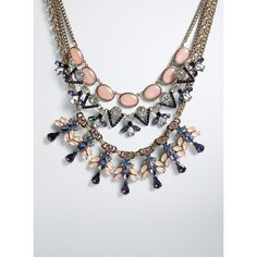 Torrid Statement Necklace Set ($29) ❤ liked on Polyvore featuring jewelry, necklaces, pink necklace, triple necklace, floral statement necklace, navy blue jewelry and pink statement necklace