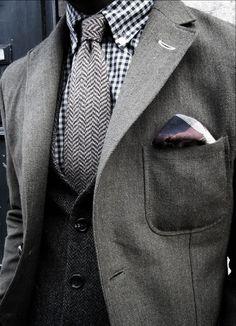 Casual grey blazer, tweed tie, check shirt - great layered look
