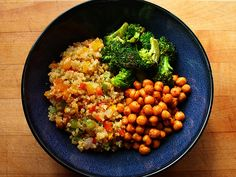 Quinoa with sautéed green, red, yellow and orange bell peppers, red onion, and garlic. Sautéed broccoli with salt and pepper, lemon, and nutritional yeast. Roasted chickpeas (olive oil, sriracha, chili powder, salt and pepper).