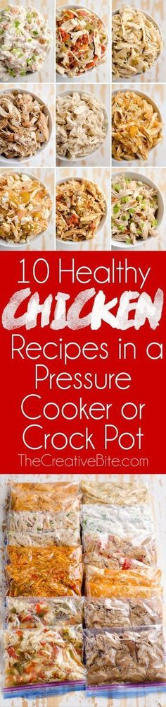 Try these 10 Healthy Chicken Recipes in a Pressure Cooker or Crock Pot for juicy shredded chicken with a variety of bold flavors! These freezer friendly Instant Pot chicken recipes are great for healthy meal prepping.