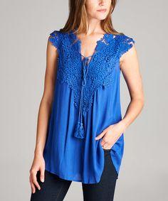 Look at this #zulilyfind! Royal Blue Crochet-Front Tassel-Tie Notch Neck Tunic #zulilyfinds