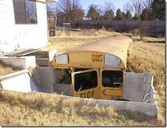 School Bus Storm Shelter . I'm seriously thinking about doing this.
