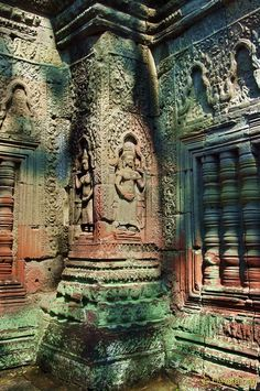 """Helen Candee wrote in her 1925 book """"Angkor the Magnificent"""": """"Through openings made irregular with heaped and leaning stones other shadowy green chambers show their mystery, and give hints of floating ghost-shapes, men, maids and gods."""""""