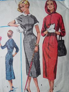 Vintage 1950s McCalls 3854 Rare Hood Wiggle Dress by FoxVintageUk