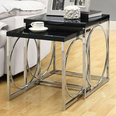 Monarch Specialties Nesting Table Set, Glossy Black/Chrome Metal, Set of 2 by Monarch Specialties, http://www.amazon.com/dp/B008XOFGUE/ref=cm_sw_r_pi_dp_VCYlsb1XCY4MN