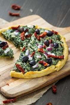 I like a pizza that kicks with flavor, and this one does it for me. The creamy sauce is rich without the added fat in most cream sauces, and the sun-dried tomatoes and olives add a perfect tangy-salty punch. Vegan Foods, Vegan Vegetarian, Vegetarian Recipes, Healthy Recipes, Whole Food Recipes, Cooking Recipes, Pizza Recipes, Vegan Pizza Recipe, Vegan Main Dishes