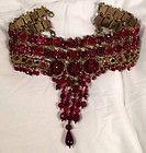 STUNNING Statement Necklace Michal Negrin Dripping Red Cyrstal Collar Paris, Fr - http://karat.designerjewelrygalleria.com/michal-negrin/michal-negrin-necklaces/stunning-statement-necklace-michal-negrin-dripping-red-cyrstal-collar-paris-fr/
