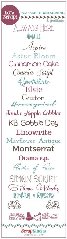 Let's Scrap! Free Thanksgiving & Gratitude Fonts @ ScrapStacks  ~~ {22 free fonts w/ easy download links}