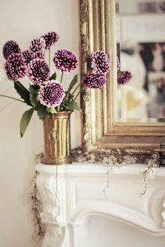 dark purple dahlias / mantle styling / gilt frame mirror