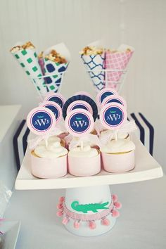 Preppy baby shower - although can't monogram without a name :/