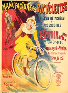 Artist: L. CORROIS Size: 37 x 51 in./94 x 129.2 cm Imp. Bourgerie, Paris An amusing bit of advertising exaggeration, visually claiming that Dutheil bicycles are so fast and smooth, they can outride a racehorse. Date: 1894