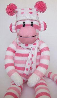 Cute Pink Candy Stripe Sock Monkey