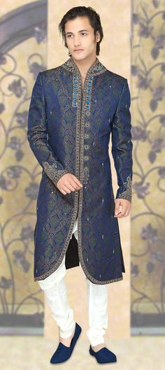 Female version of this for mammy? 14217: Blue, Green color family Sherwani. Or papa?