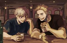 reminds me of that one fic where den and nor have a drinking comp with vodka russia gave them, and nor turns into a bitchy drunk and tries to kill the nordics until the reader bitchslaps him....:3
