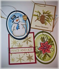Theresa Momber - Christmas Tags: Gina K Designs Stamps Sets Peace and Joy, Celebrate the Season and Let it Snow