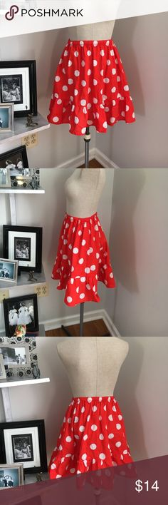 Red Polka Dot Skirt Super fun skirt. No tags. Waist stretches from 11 inches to 20 inches flat Vintage Skirts
