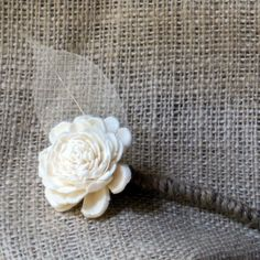 Natural Tapioca Wood Wedding Boutonniere | teddiart - Wedding on ArtFire