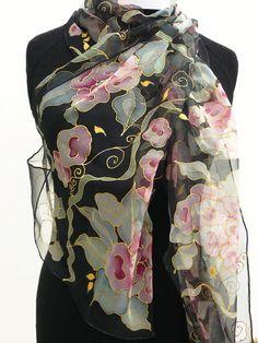 Chiffon Black silk scarf HANDPAINTED long Pink flowers by Irisit