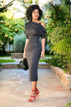 Textured Buttoned Shoulder Midi Dress