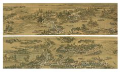 Wang Hui 1632-1717, et al., The Kangxi Emperor's Southern Inspection Tour, Section of Scroll VI: From the Town of Benniu to the City of Changzhou on the Grand Canal; ink and color on silk, handscroll; 67.8 by 475.3 cm. 26 7/8  by 187 1/8  in.