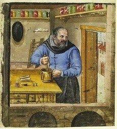 Apothecary. Landauer Twelve Brothers' House manuscript, c. 15th century, Nuremberg.