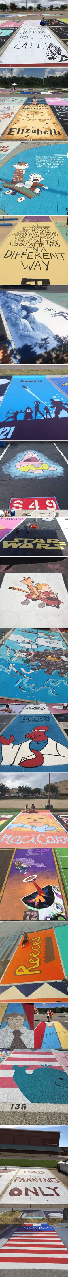 High school students painting their own parking spaces