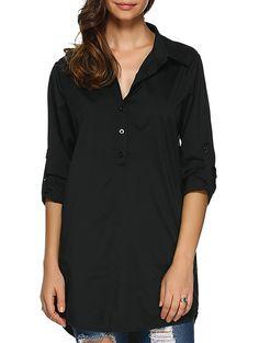 Long Sleeve Boyfriend Style Blouse #men, #hats, #watches, #belts, #fashion, #style
