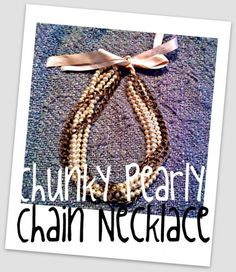 A pearl, ribbon, and chain necklace tutorial to match the pearl, ribbon, and chain bracelet tutorial also in my DIY pins. <3