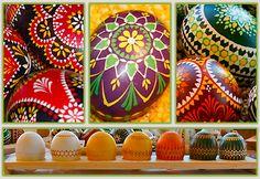 Sorbian (minority group in east germany) easter eggs made with wax in differents methods...sorbische Ostereier in Wachstechnik