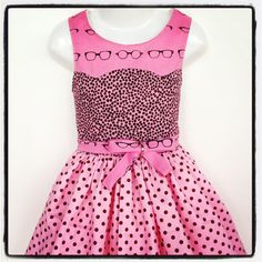 Girls Dress PDF Sewing Pattern Disco Party Dress Ainslee Fox #geeklychic #rileyblakedesigns #glasses #retro #fabric