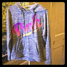 Nwot VS pink ombré pullover hoodie Size small, runs big! New without tags! Tried on and washed once! Other than that perfect condition! No flaws! Looks brand new!!! Wanting to trade for an xsmall in the same condition!!! Will also sell so I can buy one in an xsmall! Bundle to save!(: PINK Victoria's Secret Sweaters