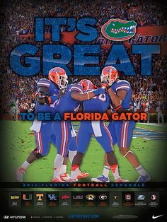 With the 2013 season now agonizingly close, here's a look at the Florida Gators official schedule poster for the upcoming campaign. Fla Gators, Florida Gators Baseball, Braves Baseball, Gator Game, Tim Tebow, Florida Girl, College Football, Gator Football, College Sport