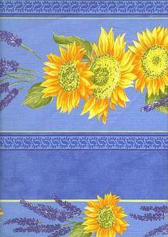 Provence fabric: Tournesol-Lavande bleu rayure