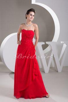 Bridesire - Corte Recto Strapless Hasta el Suelo Sin Mangas Gasa Vestido [BD4807] - US$94.99 : Bridesire