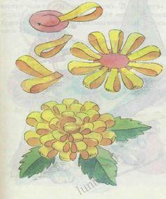 Астра, Хризантема.  Изготовляются махровые цветы тем же способом, что