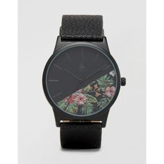 ASOS Watch With Floral Face And Back Strap ($30) ❤ liked on Polyvore featuring men's fashion, men's jewelry, men's watches, black and mens stainless steel watches