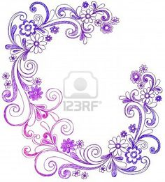 Flowers and Swirls Sketchy Doodle Border Vector Stock Photo