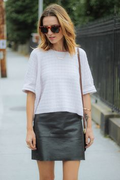 LEATHER SKIRT AND CROPPED SWEATER