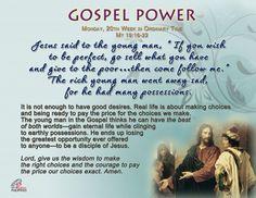 Gospel Power – Monday 20th Week