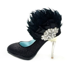 Luxurious Leatherette Upper Stiletto Heel Closed Toe With Rhinestone/ Feather Wedding/ Party Shoes