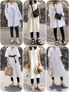 ホワイトワンピースと 重ね着コーデ◡̈⃝⋆ Japan Fashion, Teen Fashion, Korean Fashion, Womens Fashion, Dress Over Pants, Asian Street Style, Shirtwaist Dress, One Piece Dress, Maternity Fashion