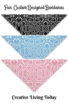 Bandanas for Your Hair, Outfit or Your Dog in Geometric Designs in Blue, Pink and Black and white. Christmas Gifts For Kids, Kids Gifts, Holiday Gifts, Cute Birthday Gift, Presents For Kids, Childrens Gifts, Bridesmaids And Groomsmen, Personalized Christmas Ornaments, Fun Activities For Kids