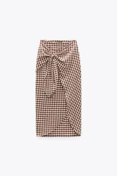 GINGHAM WRAP SKIRT   ZARA United States Zara United States, Tie, Skirts, Wraparound, Belgium, Check, Fashion, Shopping, Wrap Skirts